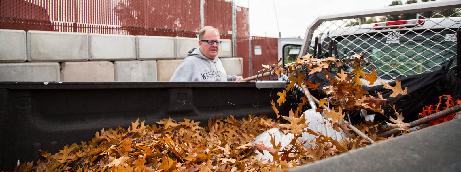 Mike Erickson starts to rake out a batch of leaves