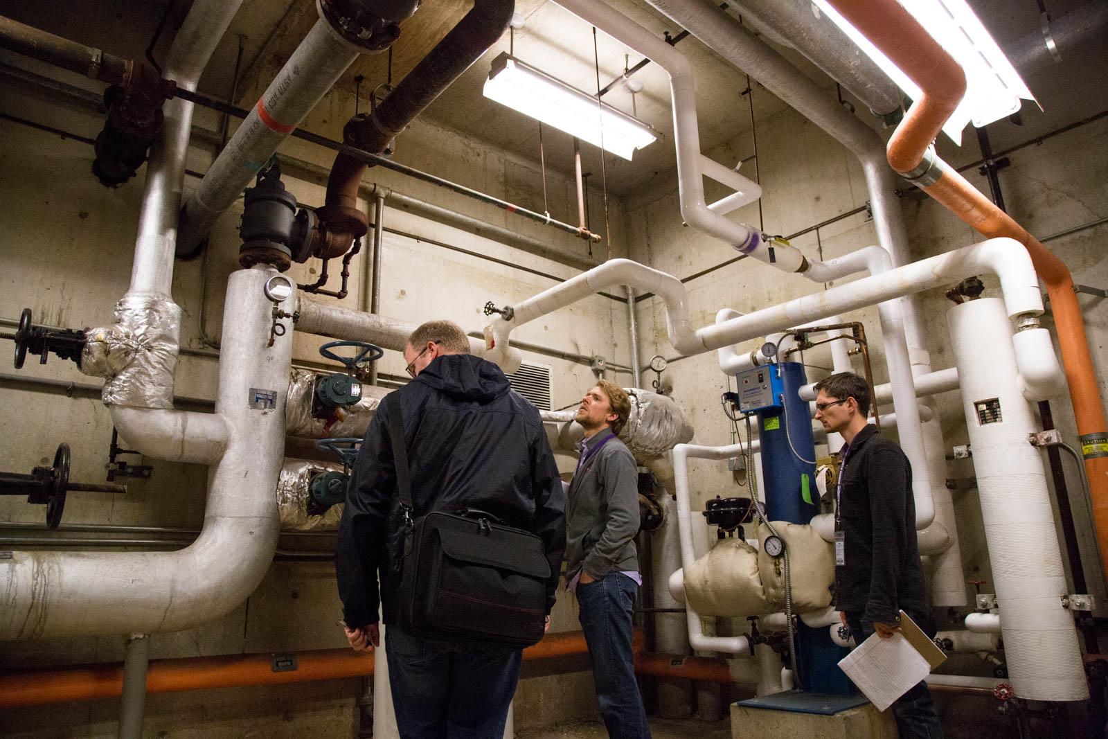 Joe Cook, Erik Turner, and Robert Gaynor in Condon Hall mechanical room