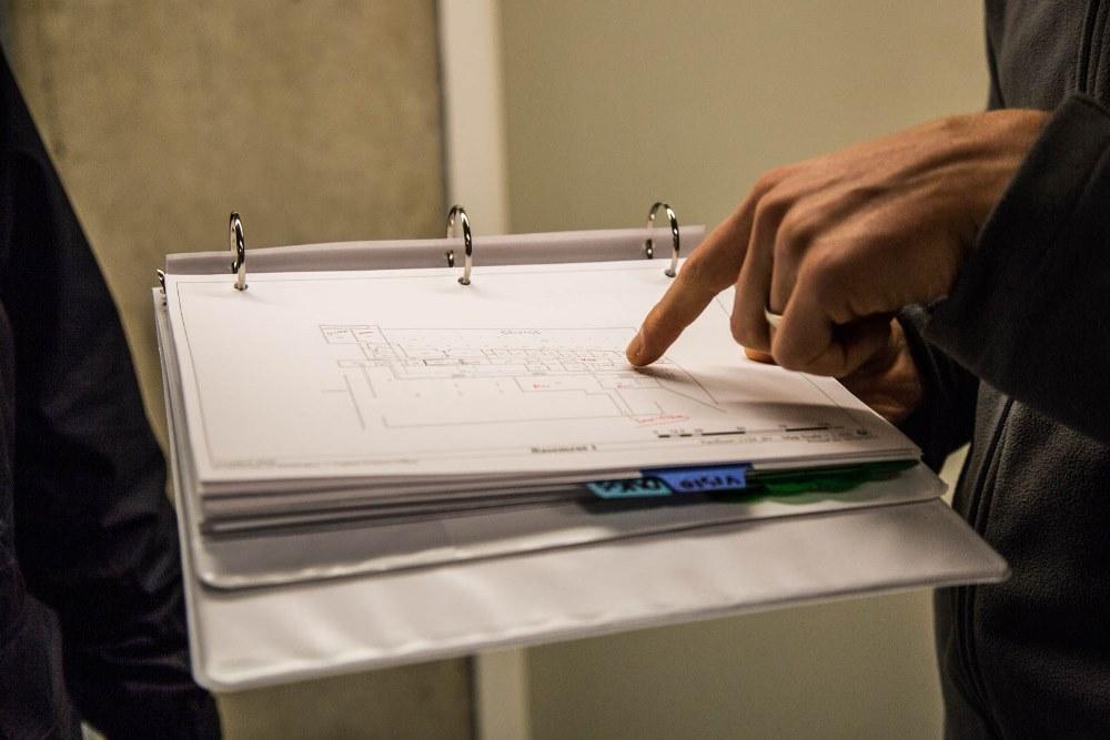 Erik Turner with his schematics binder