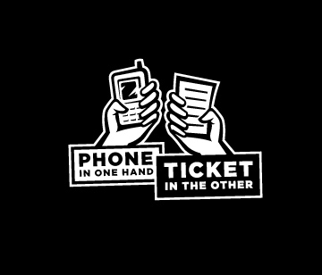 Phone in one hand, ticket in the other