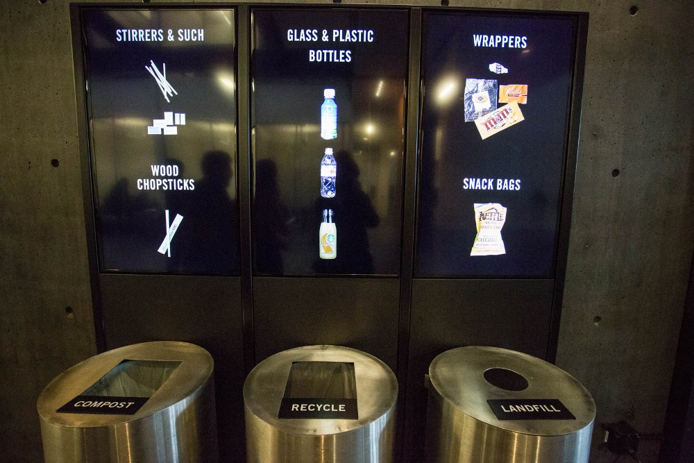 Compost, recycling and trash bin installation in PACCAR Hall