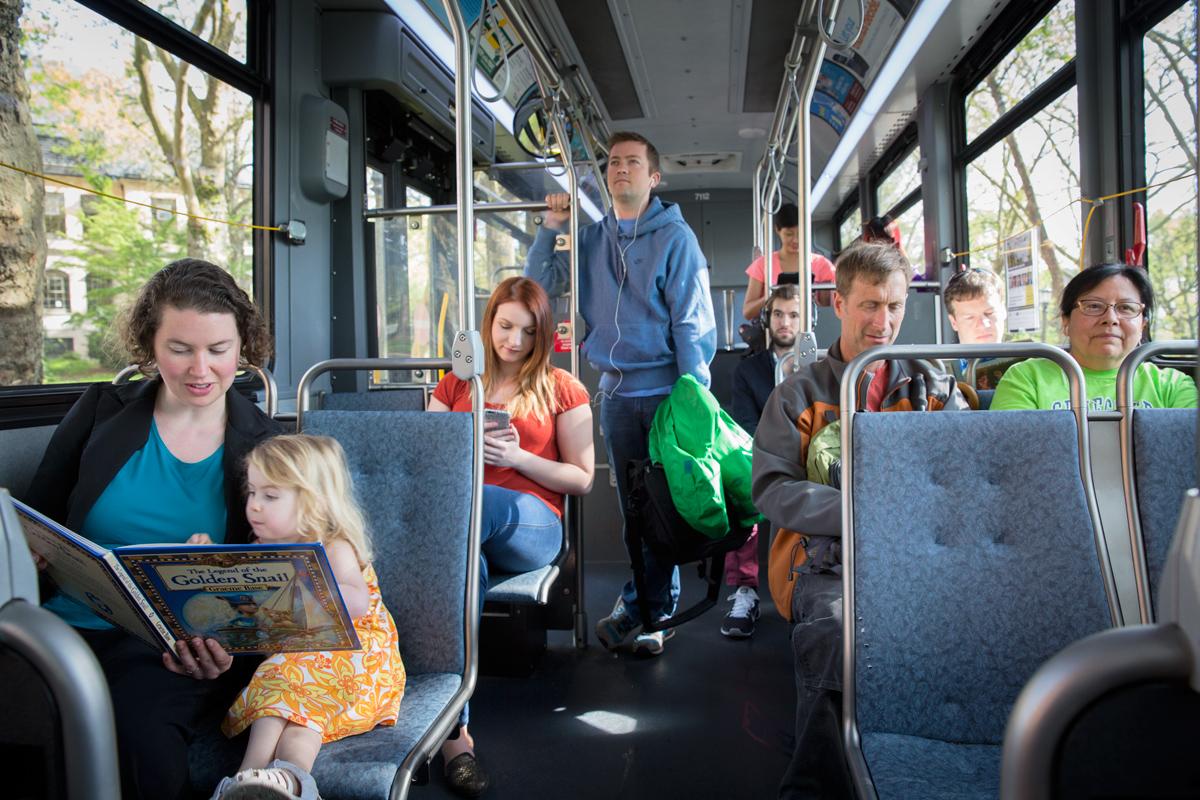 UW commuters on bus