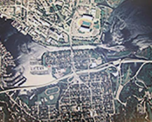 historical map of UW campus and surrounding highways and bridges