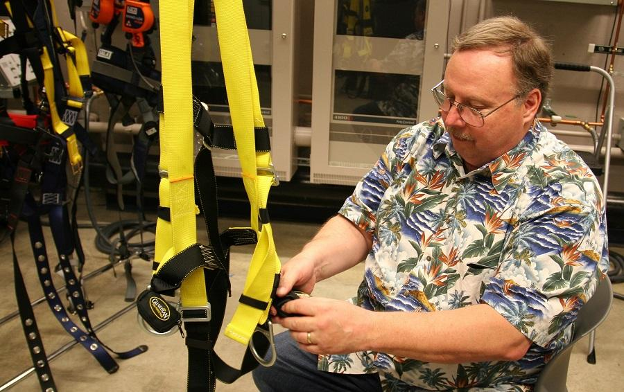 Ron Fouty demonstrates safety harness