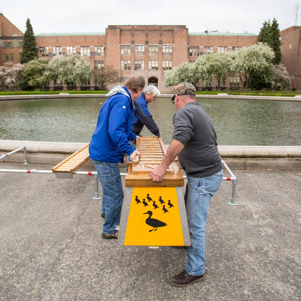 Carpenters Danny McCoy and Gordon Keough and their lead Robin Shoemake install the duckling ramp