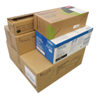 Stack of boxed recyclables