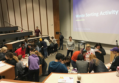 group of people in a lecture hall conducting a waste sorting activity