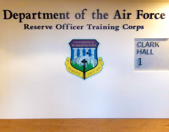 custom form lettering for the department of air foce rotc sign in clark hall