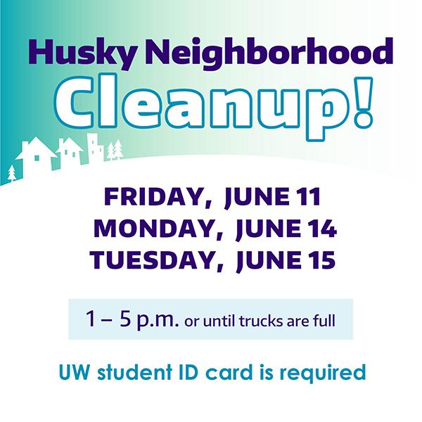 husky neighborhood cleanup poster listing dates