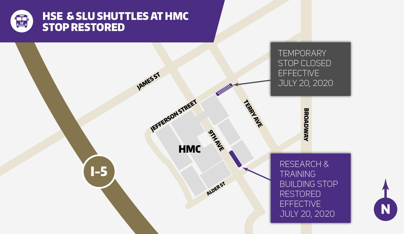 map showing harbor view medical center shuttle stop on east side of 9th ave in front of research and training building