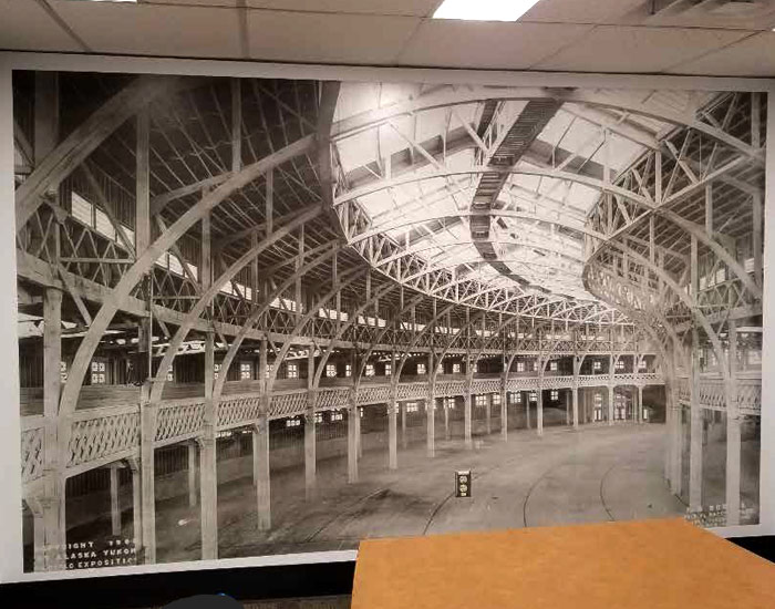 large format vinyl print and application showing a wall covering of a photo applied to an office wall