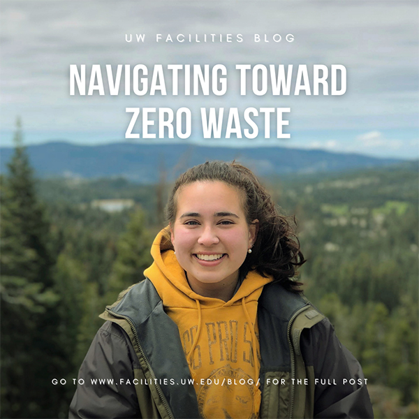 uw recycling intern in front of mountain landscape