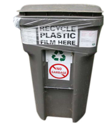 Recycling toter container for plastic film