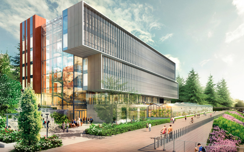 life sciences building exterior rendering