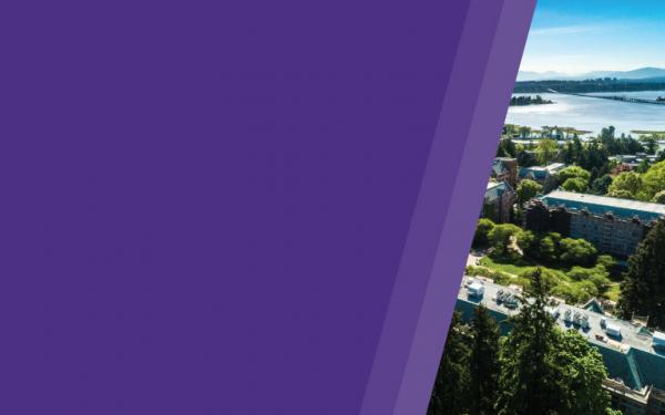 uw sustainability strategy cover graphic purple bands with aerial view of uw seattle campus