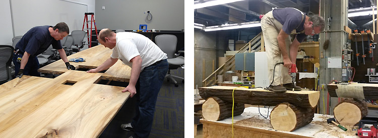 uw facilities carpenters finishing a conference room table and an outdoor bench