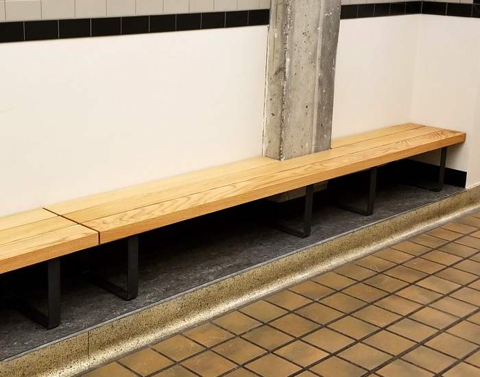 long sitting bench in locker room