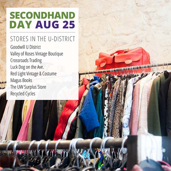 thrift store with text saying secondhand day and a list of secondhand stores near the U-district