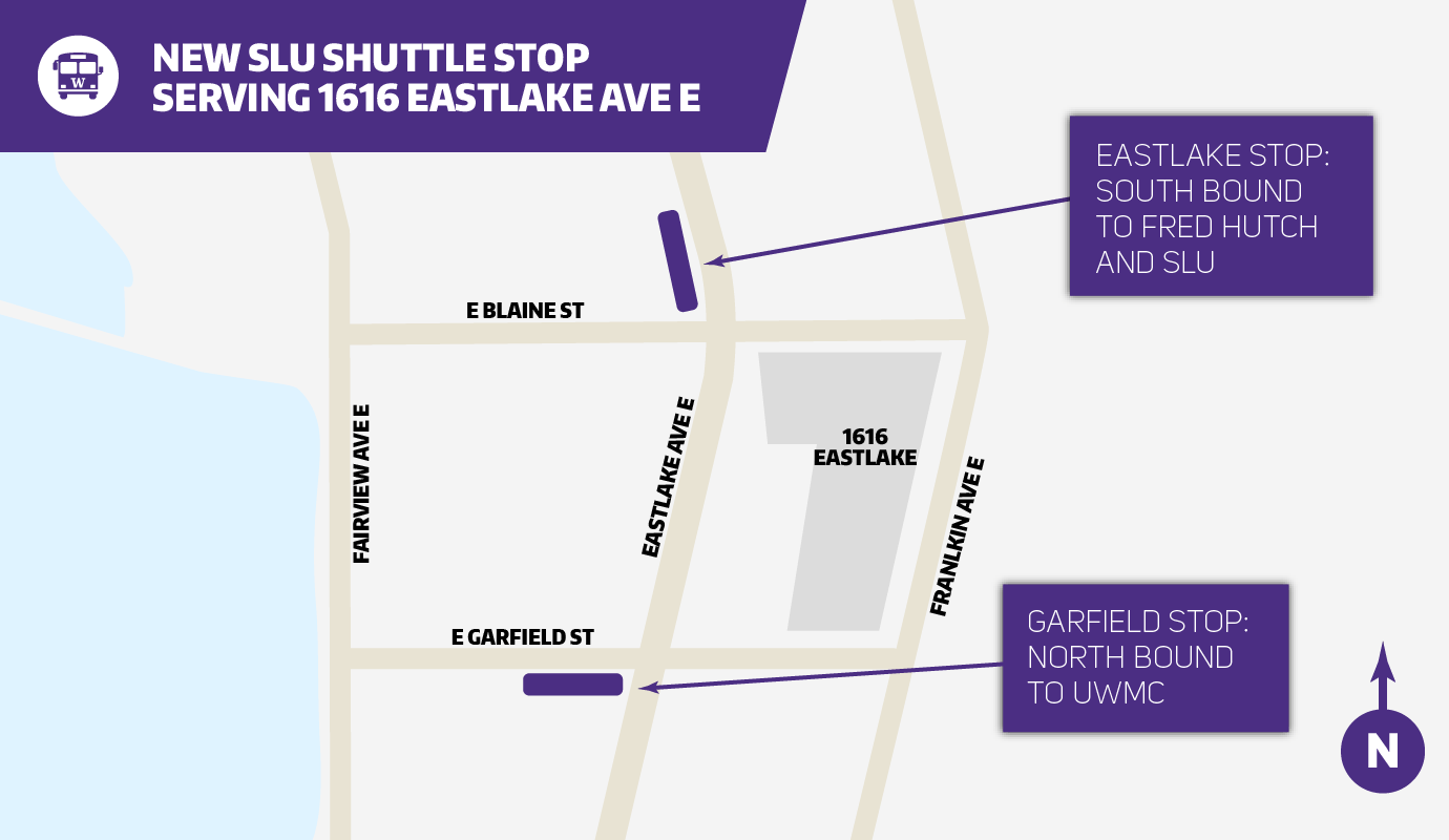 map of the south bound and north bound shuttle stops serving the 1616 eastlake ave building
