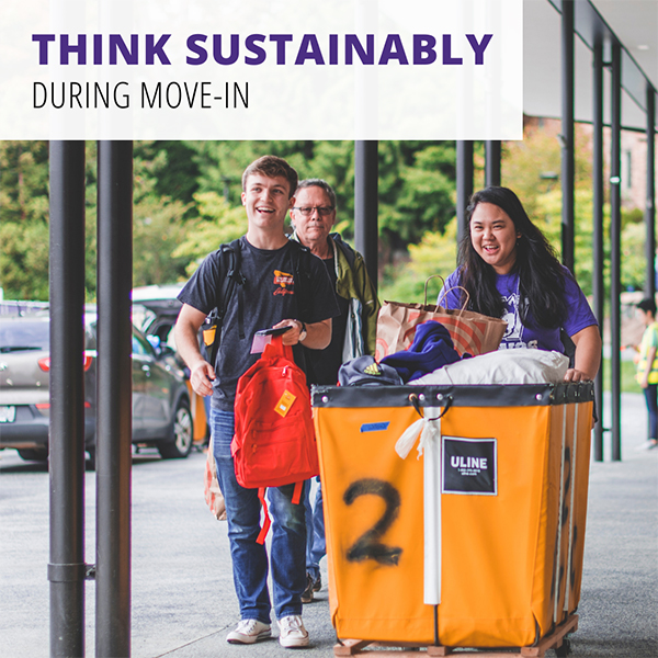 students moving a big bin and smiling with text that says sustainable move-in tips