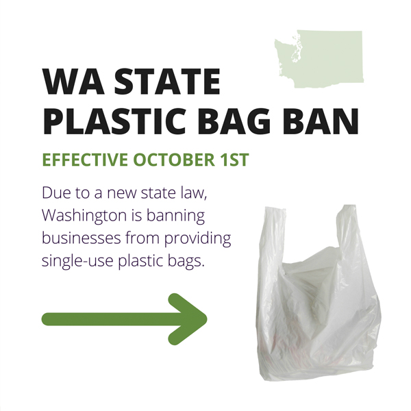 image of plastic bag with text that reads WA plastic bag ban effective Oct. 1