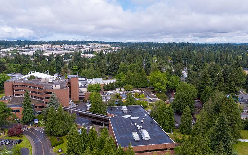 Aerial view of Northwest Hospital D-Wing