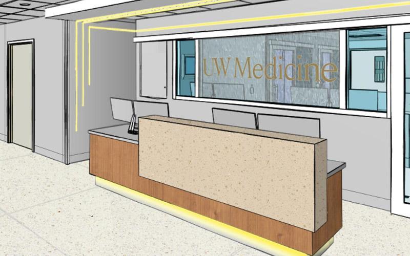 interior rendering of uwmc ed east extension
