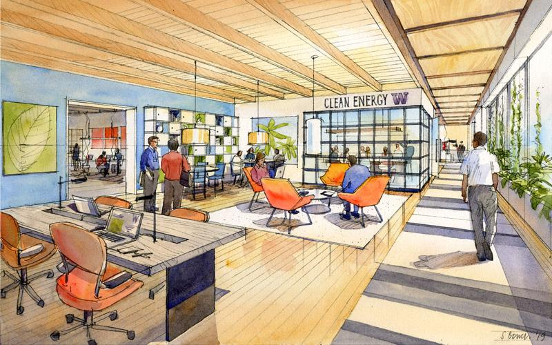 rendering of the interior of west campus site w27