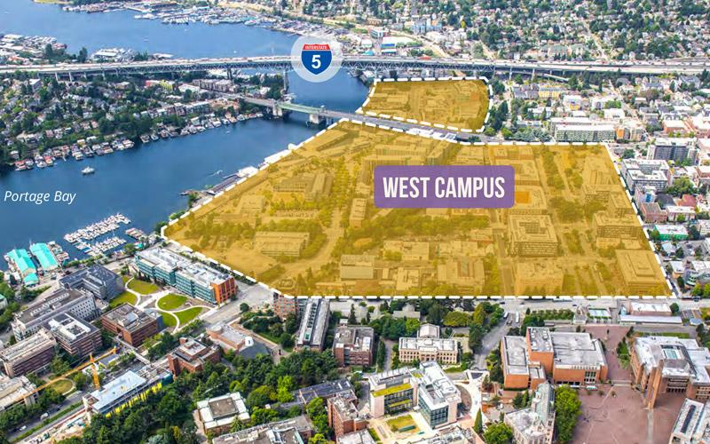 aerial view of west campus with the west campus footprint outlined