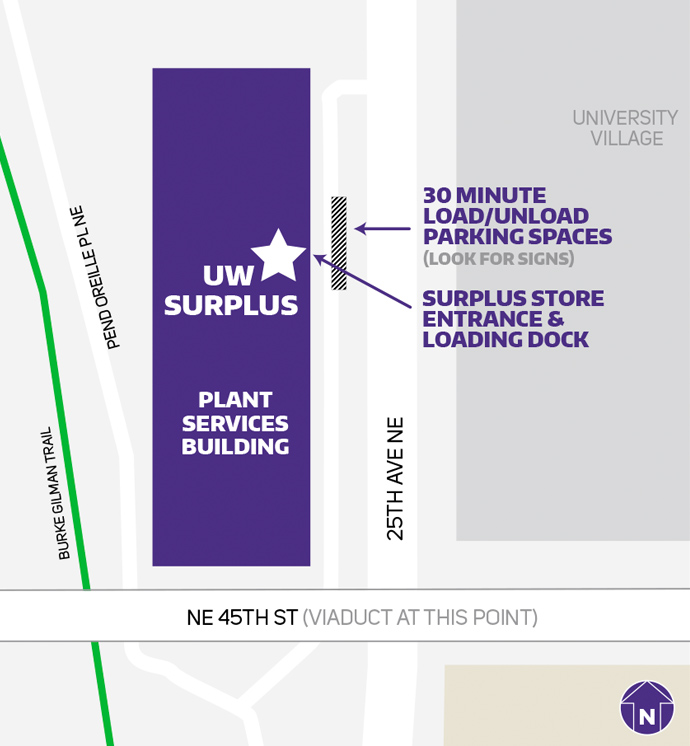uw surplus location map showing store entrance and load/unload parking spaces out front west of 25th ave, north of ne 45th st
