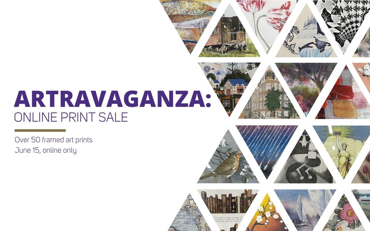 """Text reads, """"Artravaganza Online Print Sale Over 50 framed art prints June 15, online only."""" There are multiple photographs of prints close cropped into triangles."""