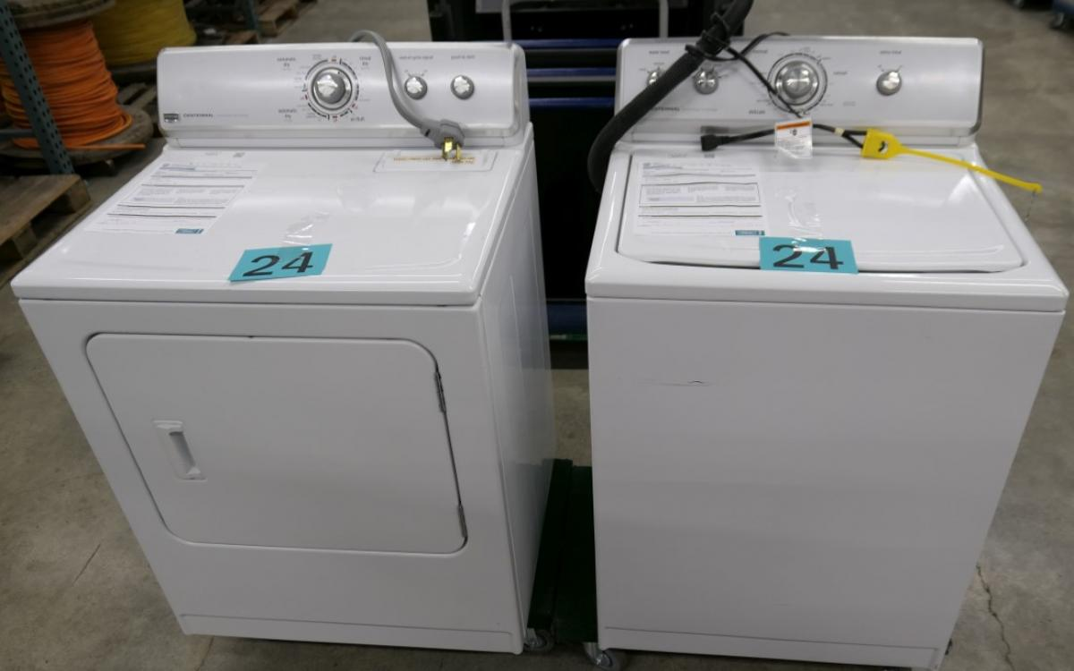 Lot 24 consists of a washer and dryer by Maytag