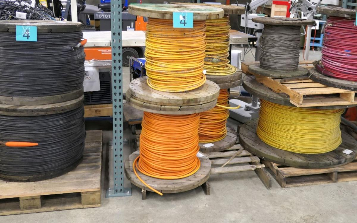 Lot 4 from February 27 live auction is a collection of large spools of cabling
