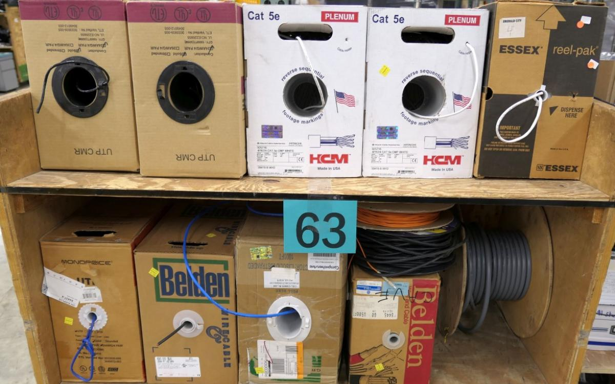 Lot 63 is made up of various boxes of Cat5 cabling